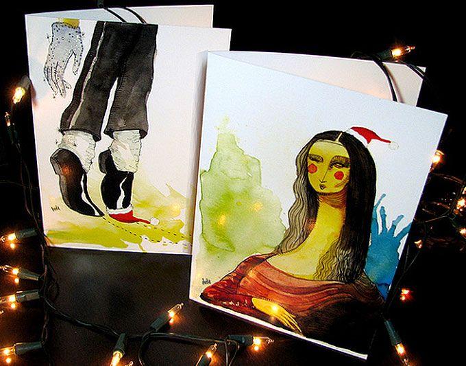 Luda vende cartões de Natal nos quais figuram seus traços suaves e volúveis, pintados a aquarela e nanquim. A ilustradora e designer é natural de Brasília e criou um Natal via correio com o s…