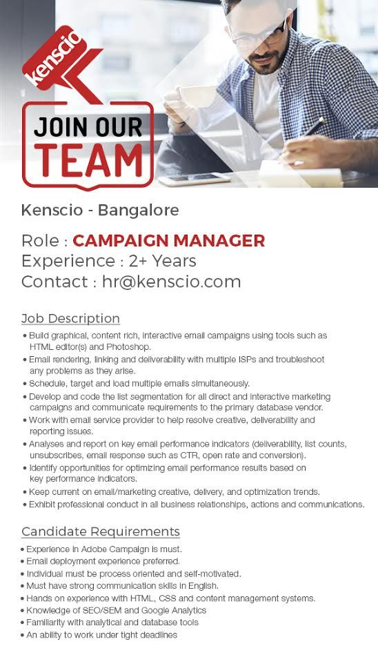 We're looking for a Campaign Manager. Interested candidates, write to us at hr@kenscio.com #CampaignManager #Kenscio #Jobs #Hiring
