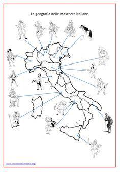 Trovate la Penisola divisa in regioni con alcune maschere della commedia dell'Arte riferite alle rispettive località. L'alunno deve scrivere correttamente la regione corrispondente alla maschera.