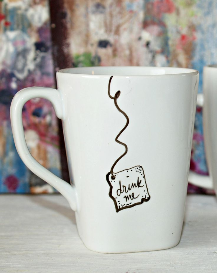 "(idea for my sharpie mugs) Alice in Wonderland ""Drink Me"" Mug. $8.00, via Etsy."