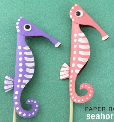DIY Toilet paper roll seahorse - summer craft  for kids // Csikóhal wc papír gurigából - kreatív nyári ötlet gyerekeknek // Mindy - craft tutorial collection