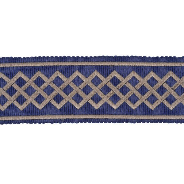"""Large grain embroidered braid with a geometrical interlacing.  GALON LUTECIA 50MM 32110 is 5.0cm (1.96"""") in width.  Composition: 62% PAN, 38% CV  Use: Trimmings  Delivery time: if in stock 1 week (in Europe) (Please contact us if stock check/ stock are required or express shipping is needed.)"""