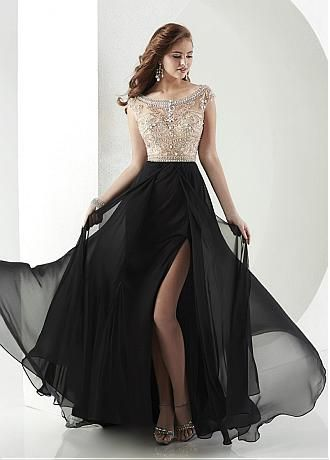 Buy discount Chic Tulle & Chiffon Bateau A-Line Prom Dresses With Beads & Rhinestones at Dressilyme.com