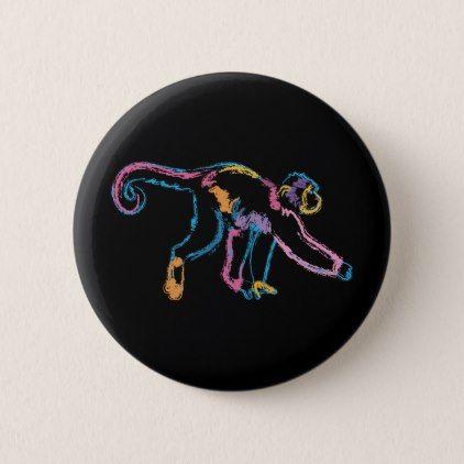 Rainbow Monkey Button - animal gift ideas animals and pets diy customize