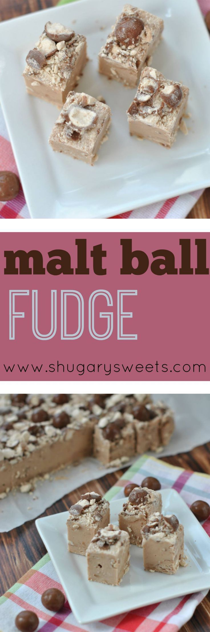 This Malt Ball Fudge recipe is filled with rich chocolate Ovaltine and chopped candy. Doesn't get much better than this!