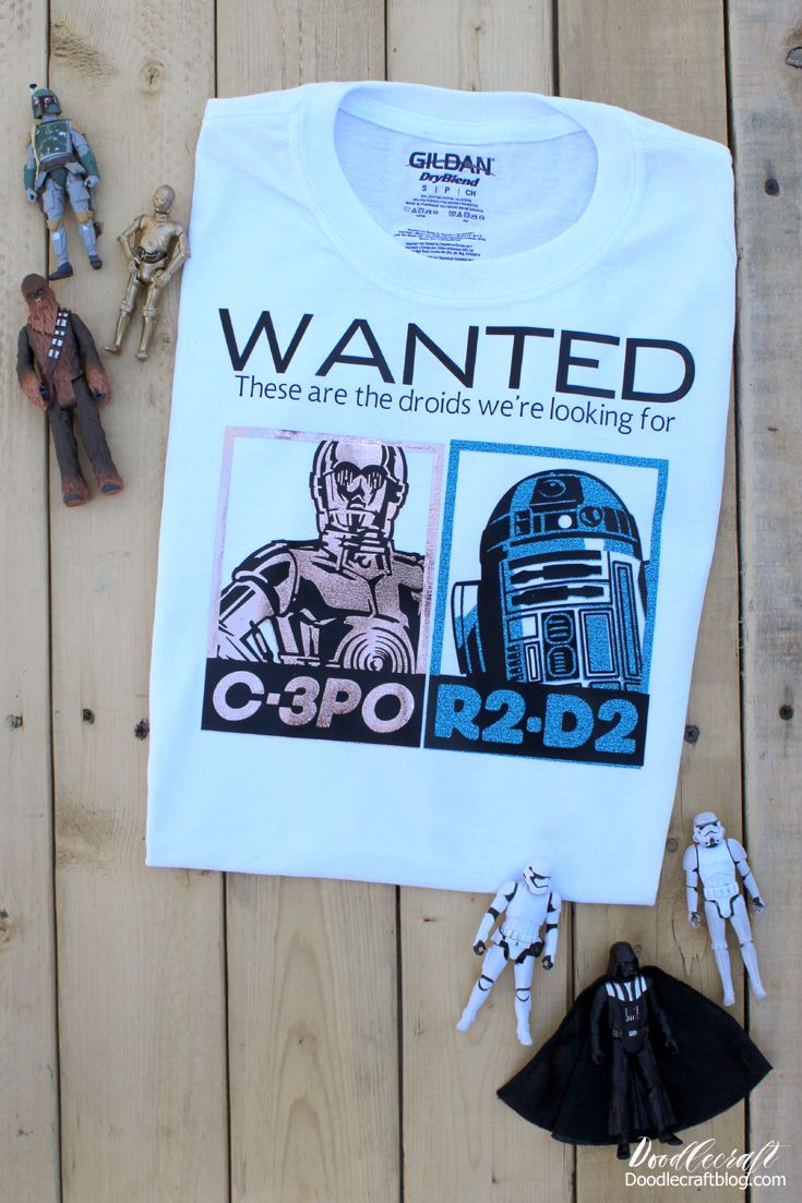 Star Wars C3PO R2D2 Droids Wanted Iron On T-Shirt with