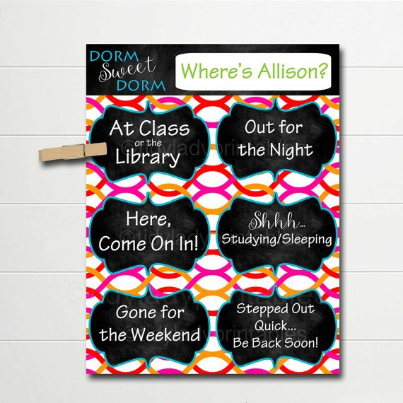 PERSONALIZED Dorm Door Sign, Dorm Room Decorations, College Student Gifts, Personalized Door Hanger, Dorm Sweet Dorm, College Schedule Sign