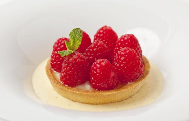 Raspberry (strawberry, blueberry or blackberry) Bakewell tart with vanilla custard by Adam Gray