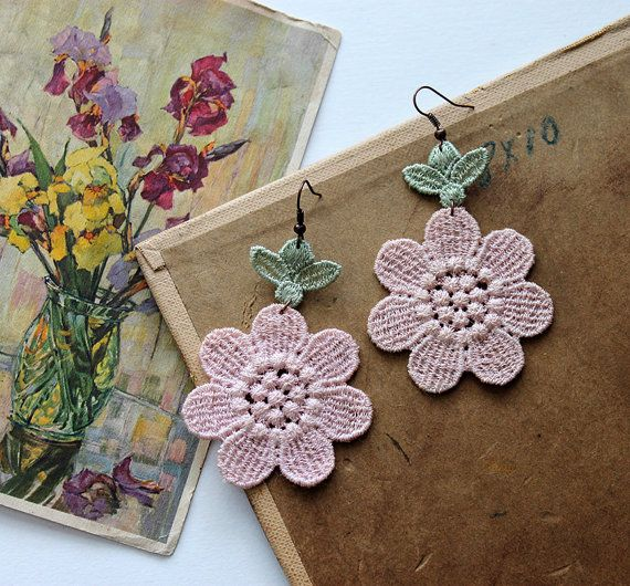 lace earrings // BELLIS // pink and green dangle by whiteowl