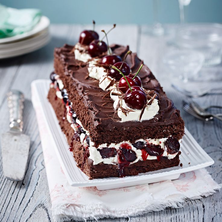 BLACK FOREST GATEAU An oldie but a goodie! This retro chocolate gateau will make a fab dinner party centrepiece. Find more cakes on prima.co.uk