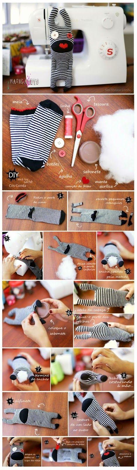 donneinpink - risparmio e fai da te : Riciclo calzini colorati- Come fare pupazzi riciclando calzini- Upcycle socks DIY