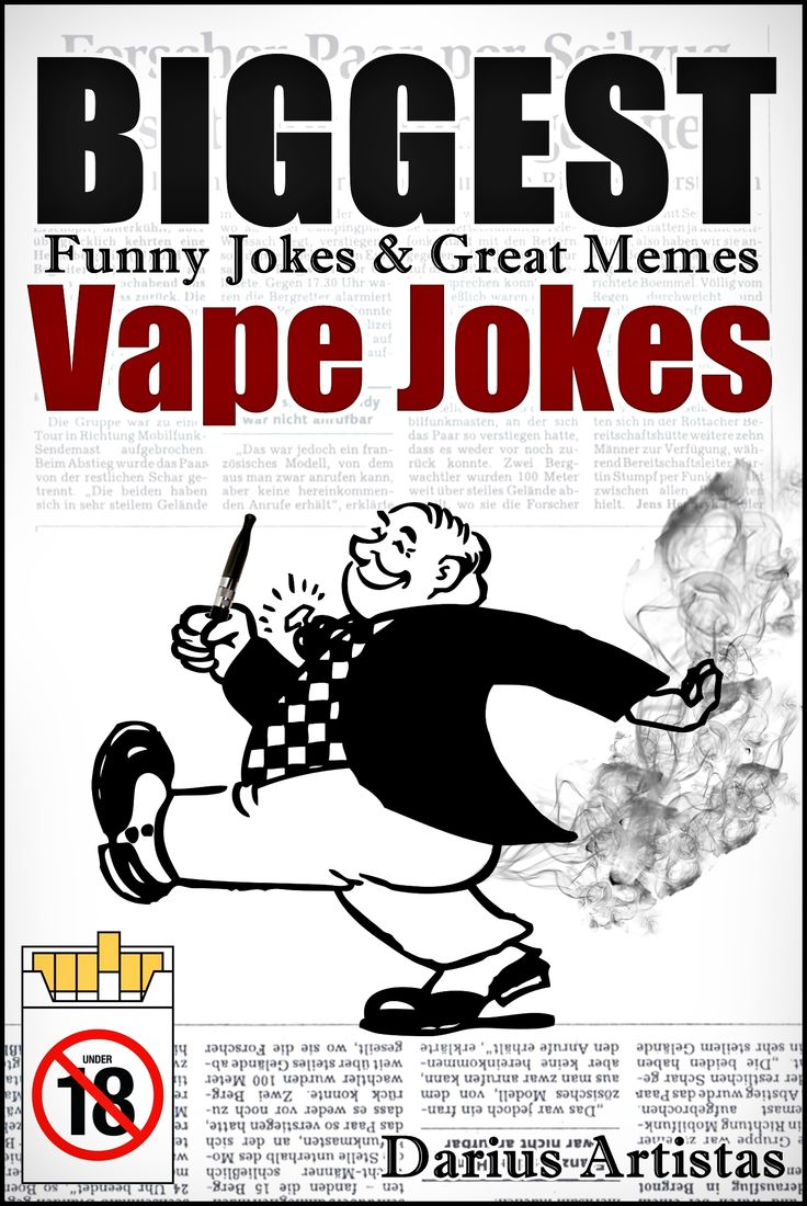 It's time for comedy!   Let's laugh about vaping and electronic cigarette lifestyle!   In this book you will find great jokes with vivid pictures  describing the joke, so nothing is left yo your imagination!   Don't pass on this book, I put a lot of hours into it and didn't smoke during the brakes:)   Also be sure to download:  1.E-Liquid Recipes: 31 Flavors of Vape. (Dirty Jew's awesome E-Juice mix list.)  2.E-Liquid Recipes: 32 Flavors of Vape. (Dirty Jew's TOBACCO E-Juice mix list.)