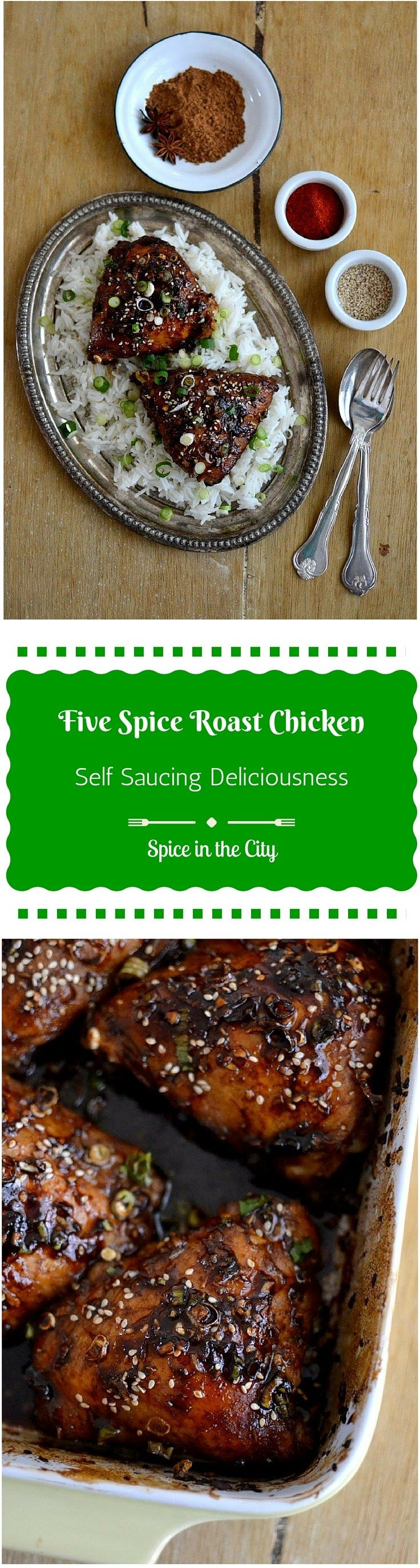 Five Spice Roast Chicken | Spice in the City: Chinese Five Spice powder is the star of this wonderful roasted Chicken dish with incredible flavors! It is self-saucing, so just serve over steamed rice for an easy yet stunning meal!