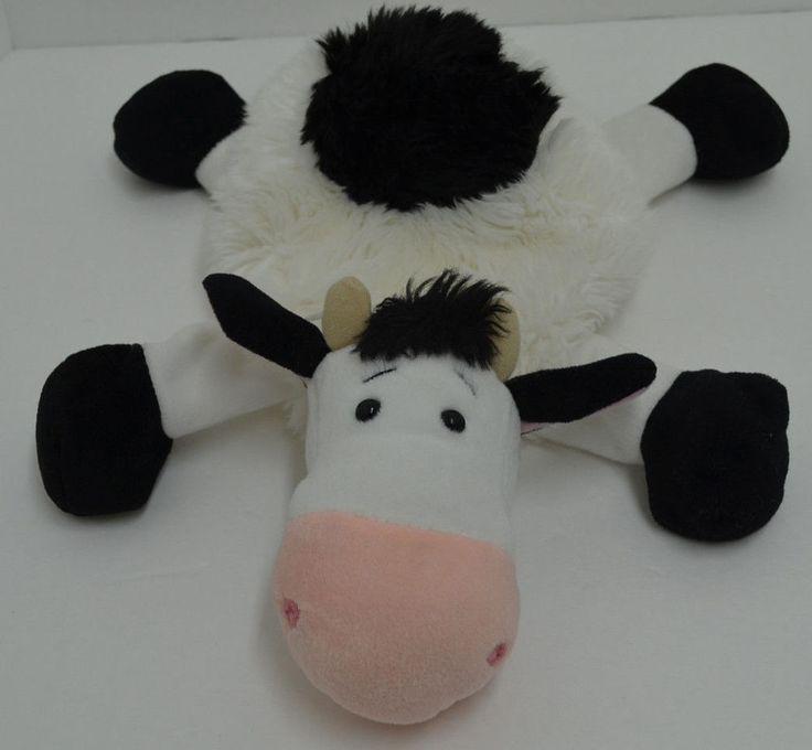 """Ganz Fluffy Farm Friend Cow Plush Black White Bean Bag H6474 15"""" #GANZ"""