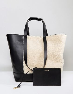 Whistles Shearling Tote Bag