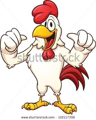 Cartoon rooster. Vector clip art illustration with simple gradients. All in a single layer.