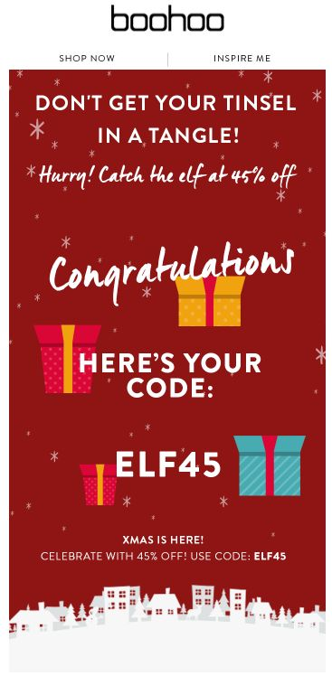 Fun way to give out a promo code. Catch the elf to get your discount.
