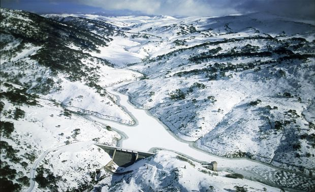 Winding down from the Australian Alps is the Snowy River, stopped by the Guthega Dam