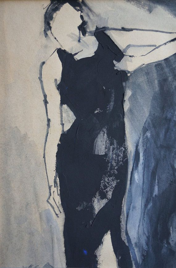 Woman in a little black dress on straps. Original by ankaGilding