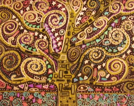Tree of Life Gustav Klimt Art Lesson for Kids from JujuJems Art Studio