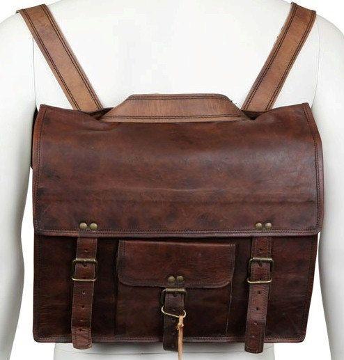 13 inch Macbook Leather Messenger cum Backpack Leather Men's Laptop Messenger Satchel Shoulder Handbag Bags Handmade Soft Leather Briefcase. $79.00, via Etsy.