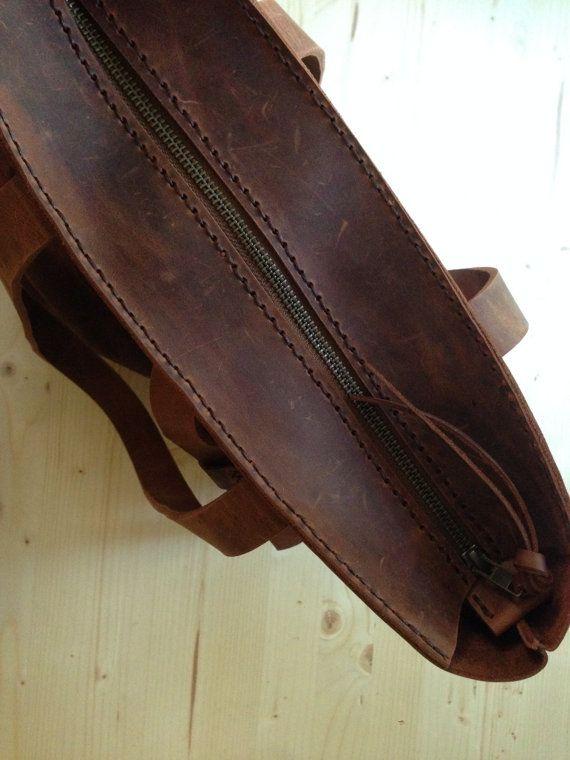 Zaino in pelle marrone zaino reversibile in pelle di MrArtigiano