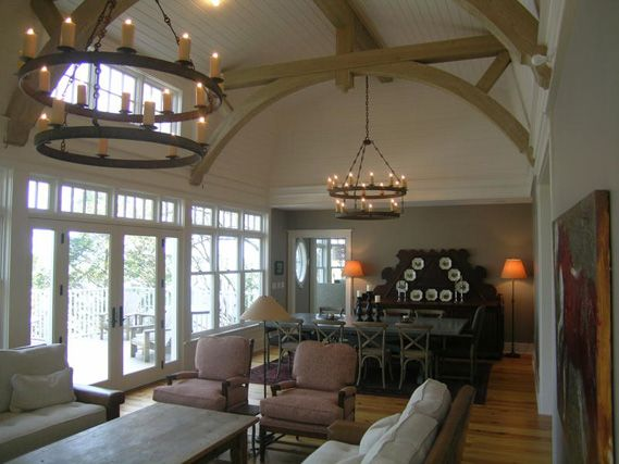 17 best images about ideas for the house on pinterest for Vaulted ceiling with exposed trusses