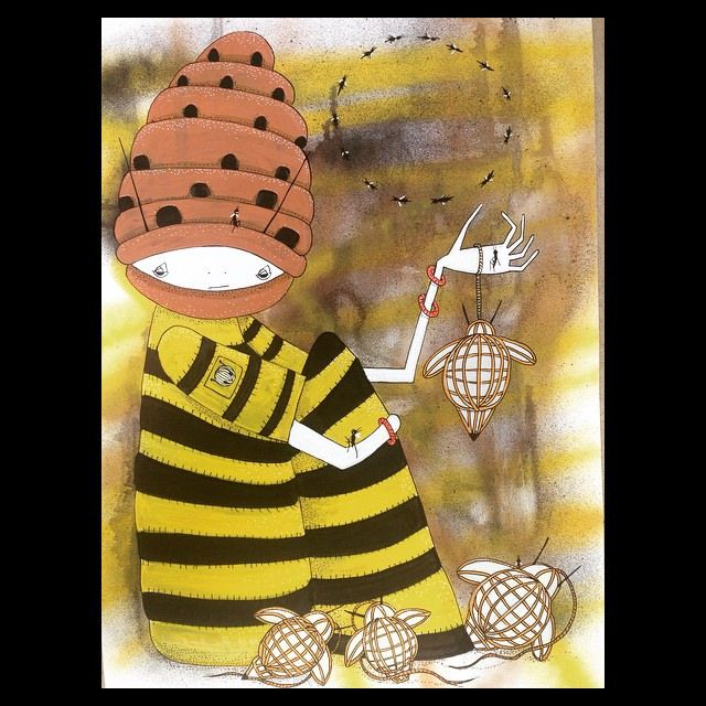 🐝 Bee Lantern Stall 🐝 Aerosol ink Molotow copic #barek #illustration #bee #beehive #lanterns #paperlantern #hive #brisbane #brisbaneart #shop #stall #ink #painting #beekeeping (*Barek*) Tags: square squareformat ludwig iphoneography instagramapp uploaded:by=instagram