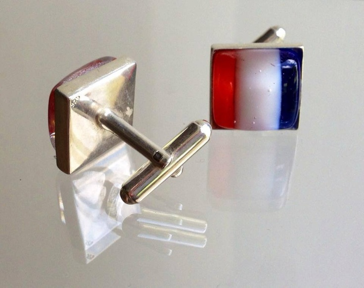A pair of gentleman's cufflinks, hand crafted in France from fused glass and set in solid sterling silver. For the Boon Lott Elephant Sanctuary Auction. Created by Jeannie Clark of Belle Fusion  - Art de Verre. www.bellefusion.com   The cufflinks will be posted worldwide to the successful bidder. Alternative country's flags are available.