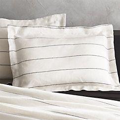 View larger image of Set of 2 Linen Pinstripe Standard Shams. Bedding option for Master