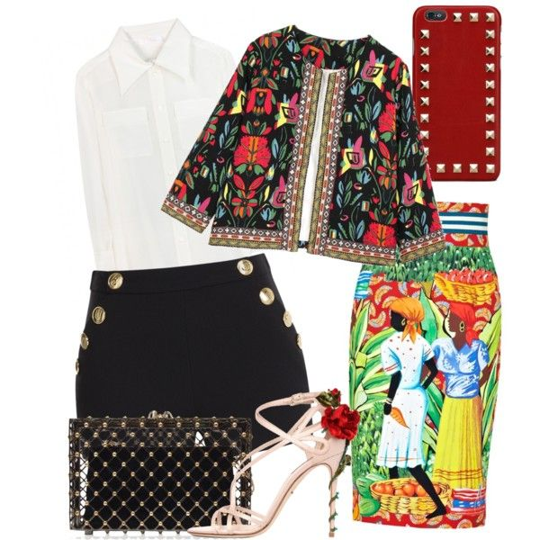 spain by paluna on Polyvore featuring polyvore fashion style Chloé Boutique Moschino Stella Jean Dolce&Gabbana Charlotte Olympia Valentino
