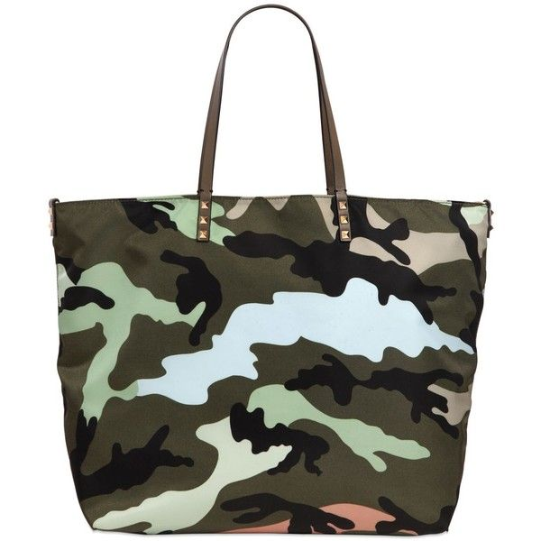 VALENTINO Reversible Camouflage Printed Tote (€1.350) ❤ liked on Polyvore featuring bags, handbags, tote bags, multi, studded tote, black tote, reversible tote bag, camo purse and studded tote bag