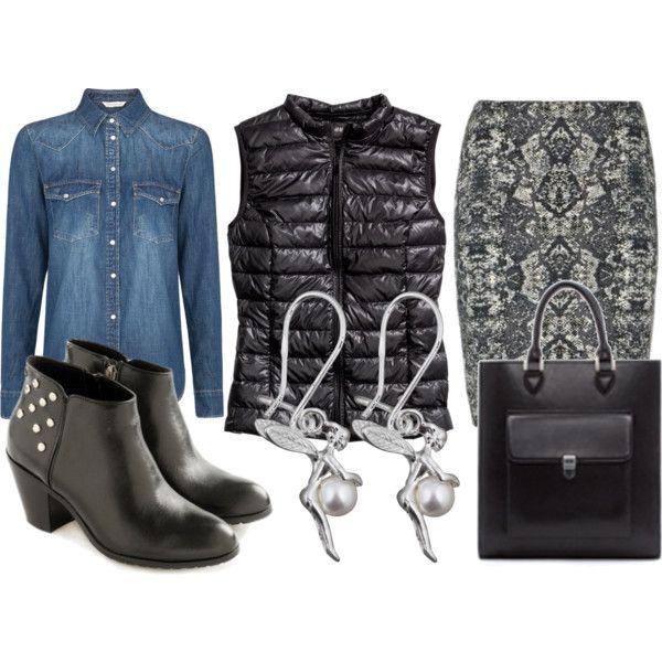 Kamizelka z powodzeniem może zastąpić zimowe okrycie,   zestawiona ze spódnicą i botkami stanowi ciekawą propozycje.
