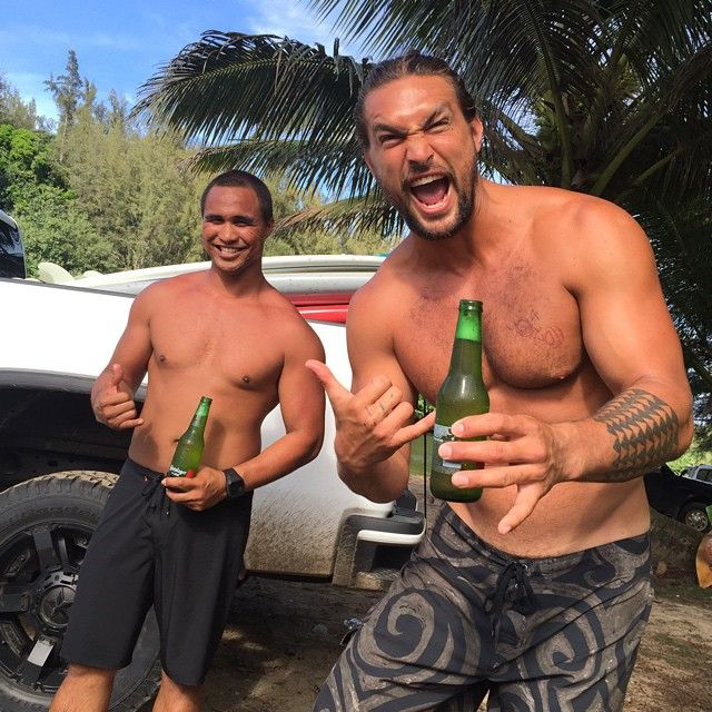 Pin for Later: Jason Momoa Has SO MUCH Fun When He Works Out, It's Ridiculous He surfs with his bros when he visits home.
