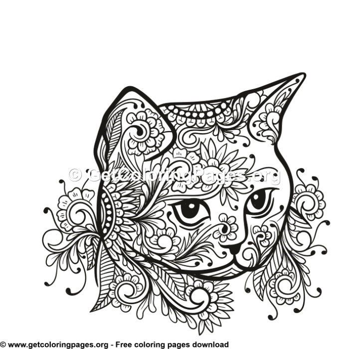 Cat Head Tribal Zentangle Style Coloring Pages Cat Coloring Book Abstract Coloring Pages Coloring Pages