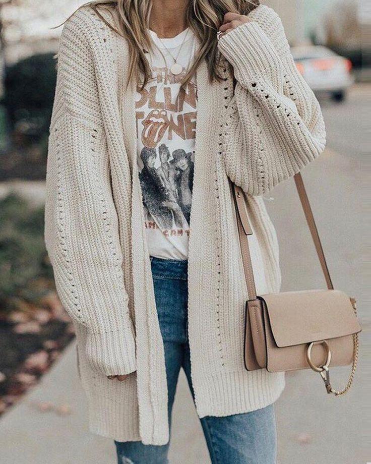 Strickjacke Pointelle mit offener Vorderseite, # Pullover # Strickjacken #Kleid #Kleider #Schuhe …   – Fall Fashion.