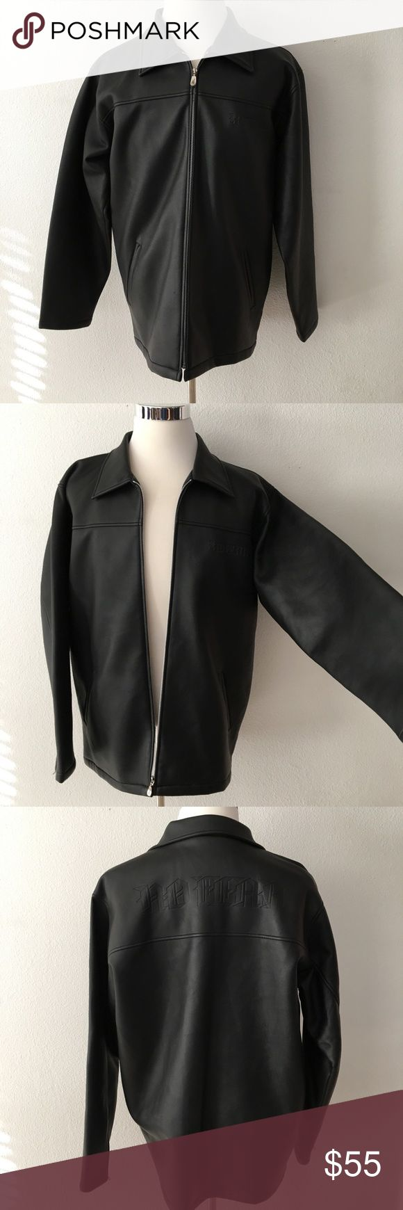 🆕 No Fear | Black Faux Leather Moto Jacket Black faux leather jacket has front zipper closure in addition to bottom of both sleeves. Two outside zipper pockets & one inside breast pocket also has a zipper closure. In great preloved condition with a couple of very small spots as shown in 8th photo. Not noticeable when wearing. No Fear Jackets & Coats
