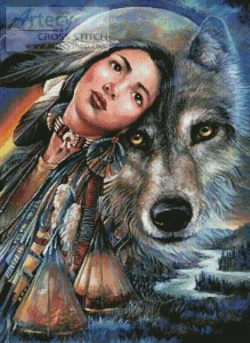 Dream of the Wolf Maiden cross stitch pattern.