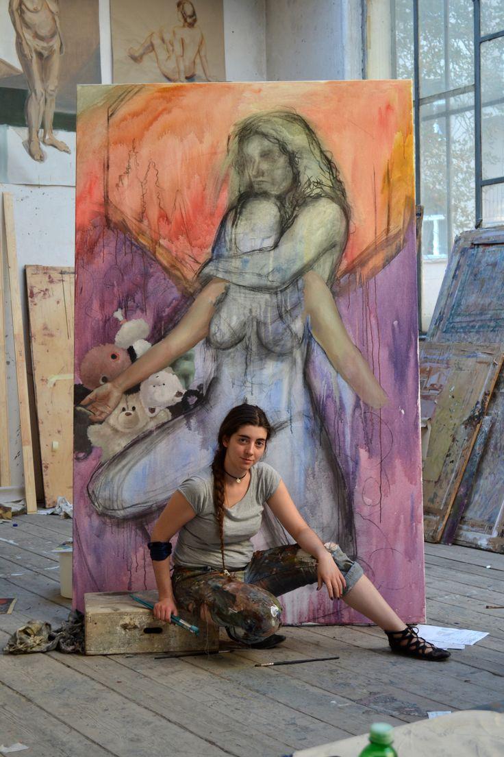 From the studio, Klara Sedlo  #klarasedlo #symbolism #darkart #darkpainting #mysticalpainting #bigcanvas #bigoilpainting #figurative #portrait #oilpainting
