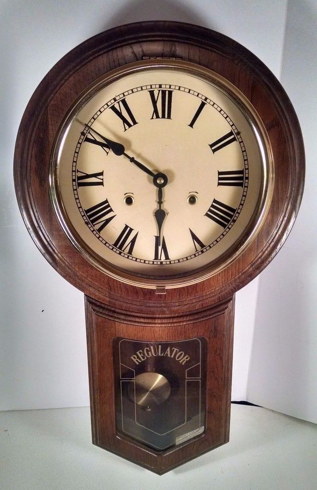 Vintage Wood Regulator Wall Clock Korean Good Condition 31