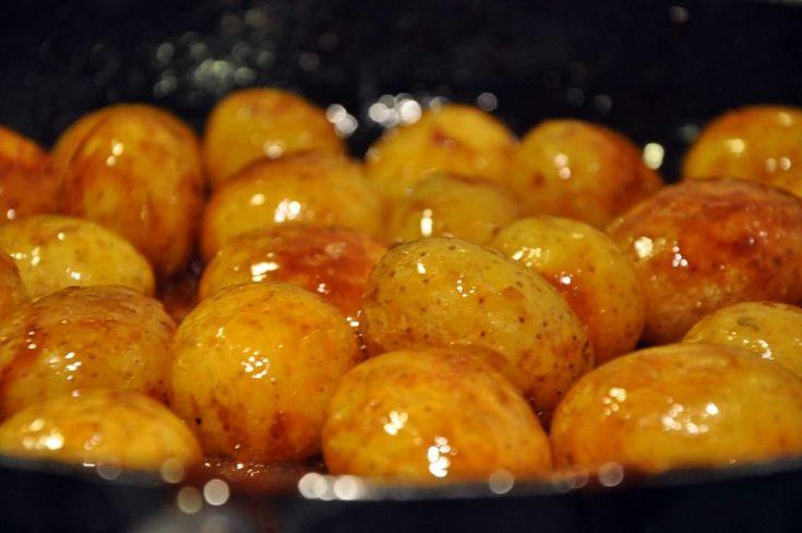 Brunede kartofler med skræl, Danmark,Jul, Tilbehør, Grønsager, opskrift