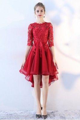 e04114660fd Burgundy Short Homecoming Dress V-neck with Ruffles -  69.3  BLS86118 -  SheProm.com