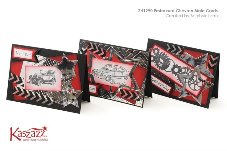 2H1290 Embossed Chevron Male Cards