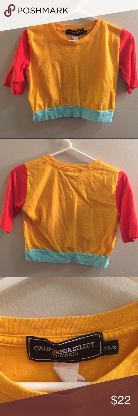 RARE American Apparel tricolored tshirt This is a ONE OF A KIND tshirt! Made from recycled fabric, only one of its kind 🍑 perfect condition and totally a statement piece American Apparel Tops
