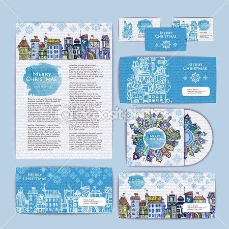 праздник Рождества городской концепции дизайна. Фирменный стиль — Стоковая иллюстрация #53307363