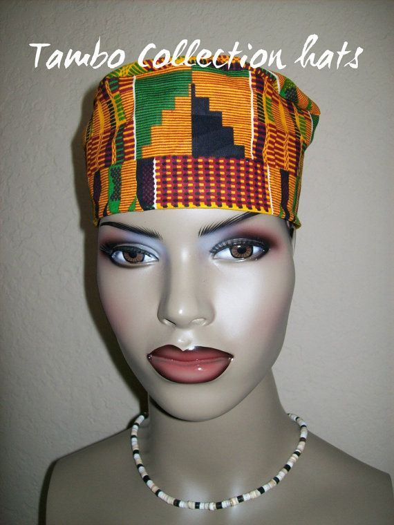 Kente 2 Women's High top Kufi hat African hat/ by tambocollection