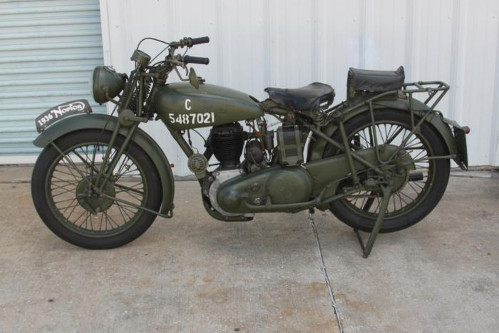 1936 Norton 16H Military Motorcycle—500 cc single cylinder side valve military bike in British Service.
