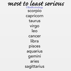 Most to least serious zodiac signs