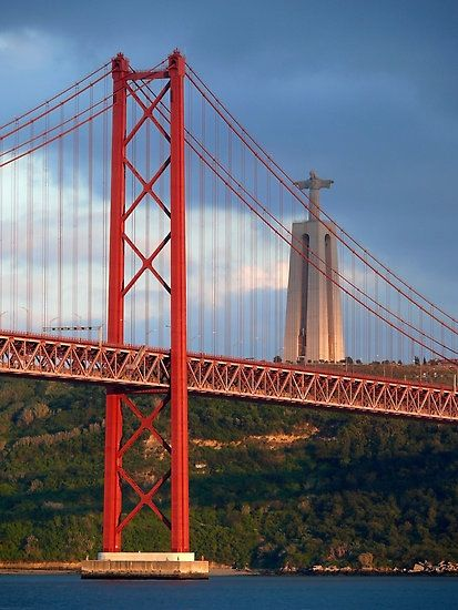 Tejo River bridge, Lisbon, Portugal (Cristo Rei on the background)