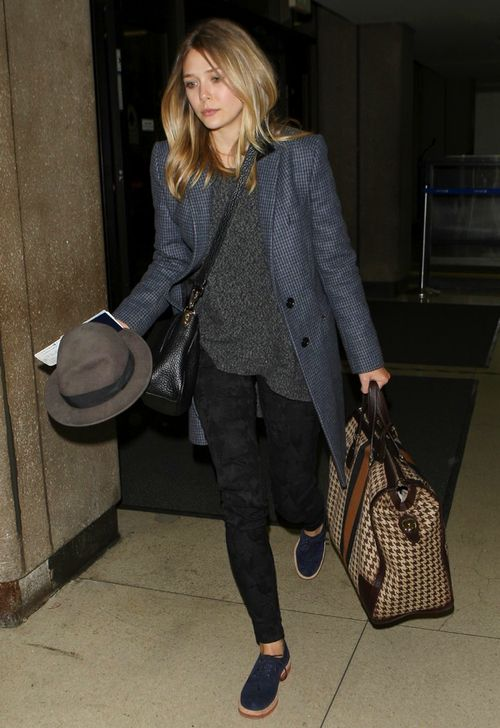 Elizabeth Olsen babe longline blue grey tweed tailored coat grey wool jumper, patterned skinny trousers bl navy blue loafers